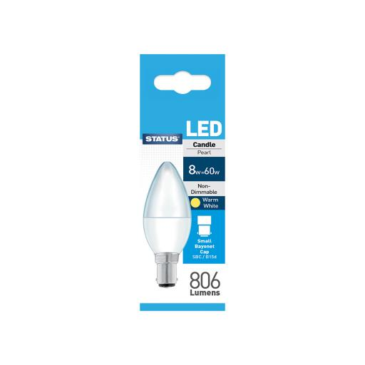 8w SBC Candle Pearl Warm White Bulb