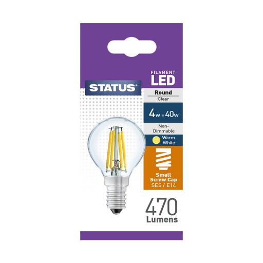 4w SES Round Clear Filament Warm White Bulb