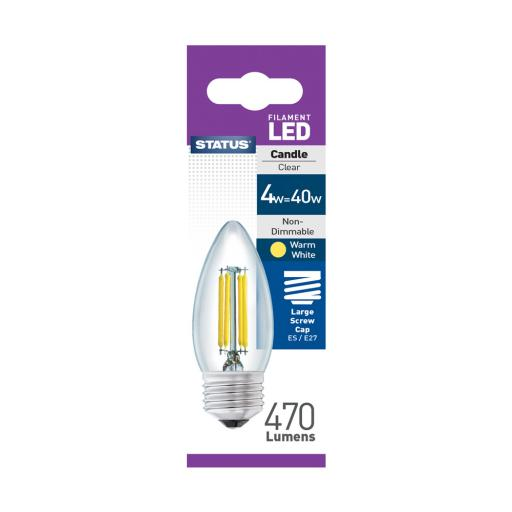 4w ES Candle Clear Filament Warm White Bulb