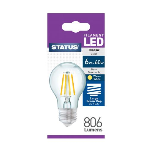 6w ES GLS Clear Filament Warm White Bulb