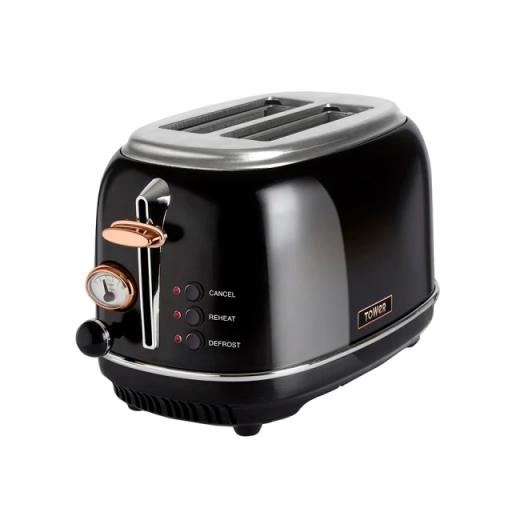 Stainless Steel Toaster 2 Slice Black