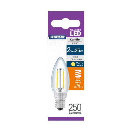 2w SES Candle Clear Filament Warm White Bulb