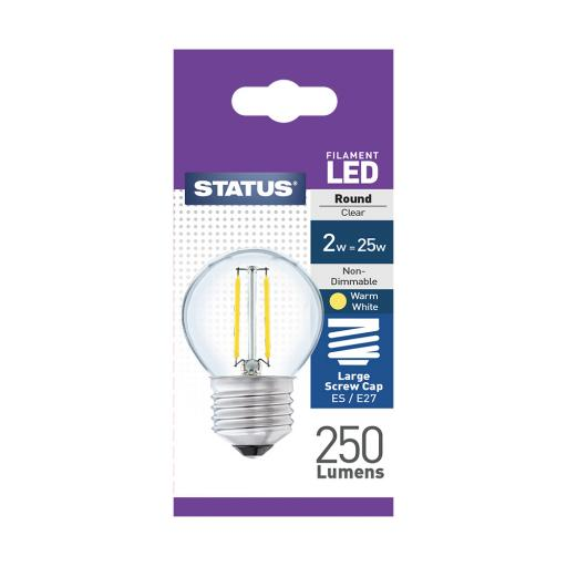 2w ES Round Clear Filament Warm White Bulb