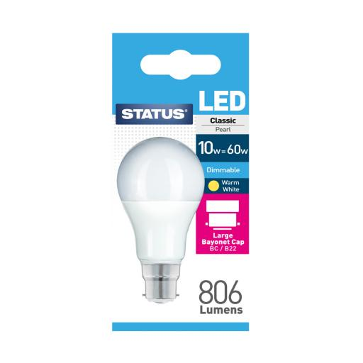 10w BC GLS Dimmable Pearl Warm White Bulb