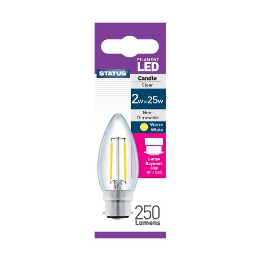 2w BC Candle Clear Filament Warm White Bulb
