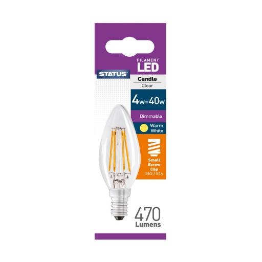 4w SES Candle Filament Dimmable Clear Warm White Bulb