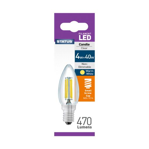 4w SES Candle Clear Filament Warm White Bulb