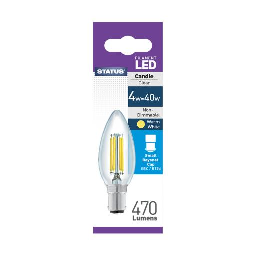 4w SBC Candle Clear Filament Warm White Bulb