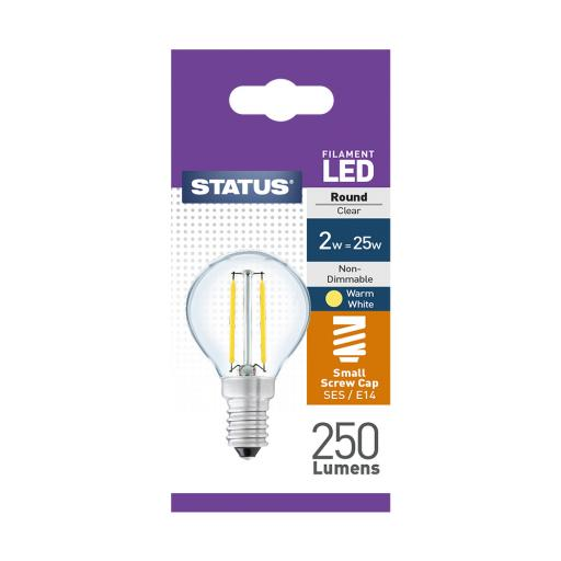 2w SES Round Clear Filament Warm White Bulb