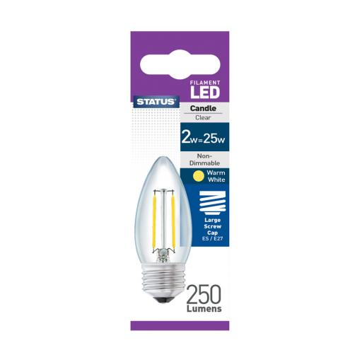 2w ES Candle Clear Filament Warm White Bulb