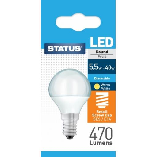 5.5w SES Round Dimmable Pearl Warm White Bulb