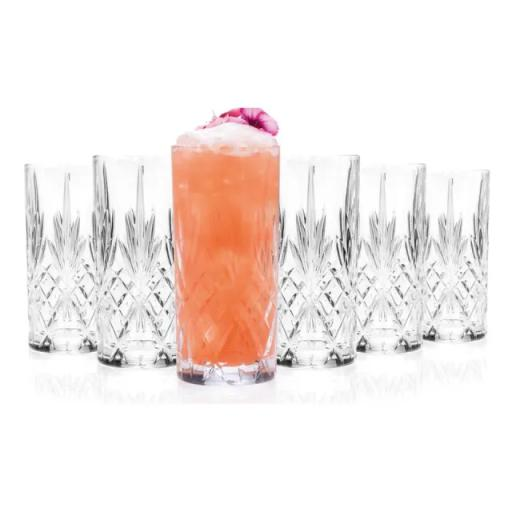 Melodia Cut Glass Hiball Tumblers x 6