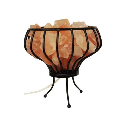Metal Basket With Natural Salt Chunks Lamp