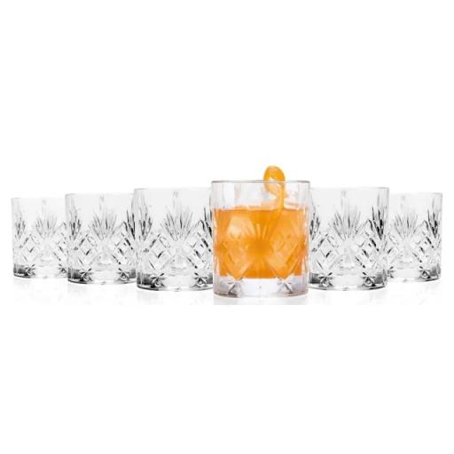 Melodia Cut Glass Whiskey Glasses x 6