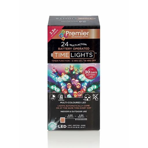Premier Multi Coloured Multi Action Battery Operated LED Lights With Timer