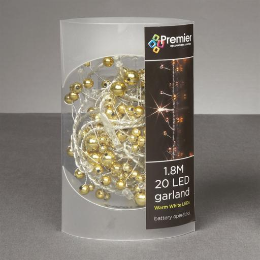 Premier Battery Operated Beaded LED Christmas Garland - Gold and Copper Beads